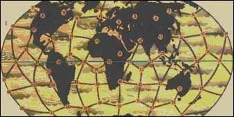 Рис. 1. Узлы икосаэдро-додекаэдрической структуры Земли