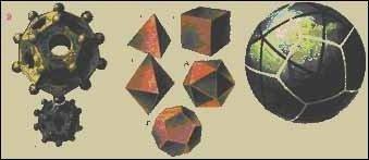 Рис. 2. Странные предметы IV века н.э. - найденные во Вьетнаме и римской эпохи, найденные в Альпах. Тела Платона: тетраэдр (А), гексаэдр (Б), октаэдр (В), додекаэдр (Г), икосаэдр (Д). Треугольно-пятиугольная система на глобусе.