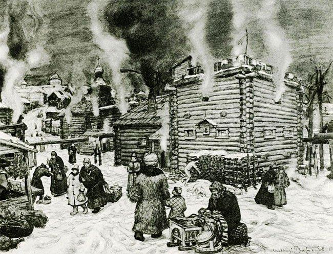 А.М. Васнецов. Общественные бани на реке Неглинной в 17 веке