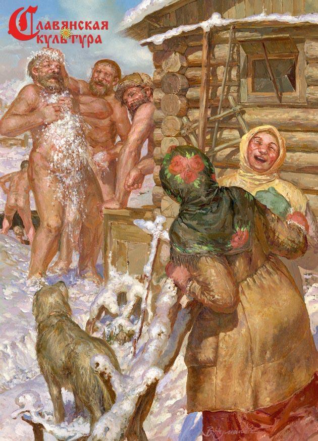 Бабы моются в русской бане смотреть