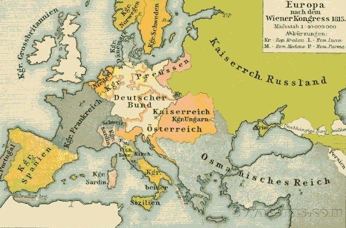 Европа после наполеоновских войн, 1815 год. Кроме России нет ни одного независимого славянского государства.