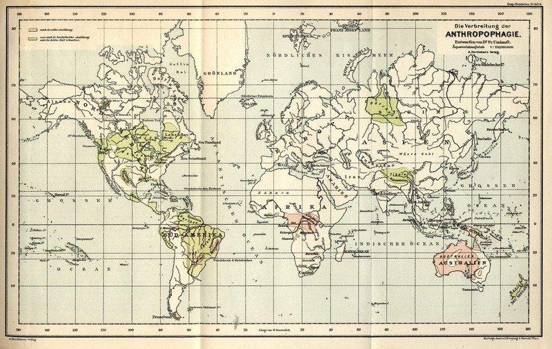 (Немецкая карта территорий, где проживали племена людоедов, конец XIX века)