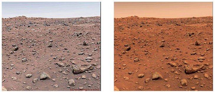 Исправленная цветопередача на марсианском снимке