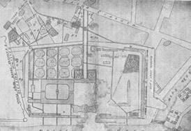 Репродукция обмерного плана усадьбы московского Воспитательного Дома, 1801 г.
