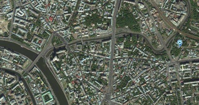 Вид с космоса (указано место Спасо-Андроникова монастыря)