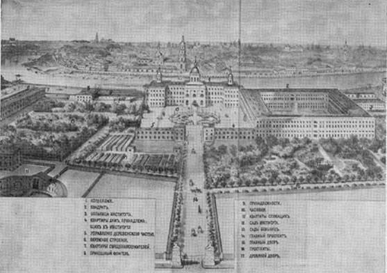 Рисунок Воспитательного Дома и его усадьбы середины 19-ого века
