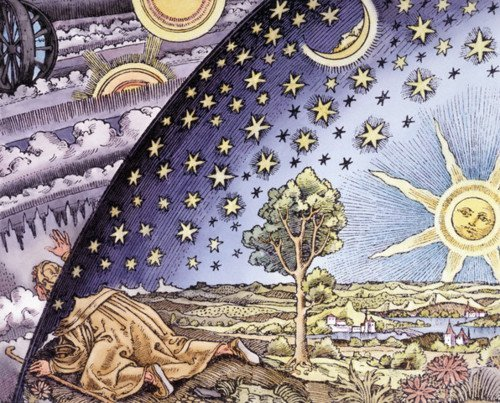 Woodcut of a Man Exploring the Meeting of the Earth and the Sky from  by Camille Flammarion