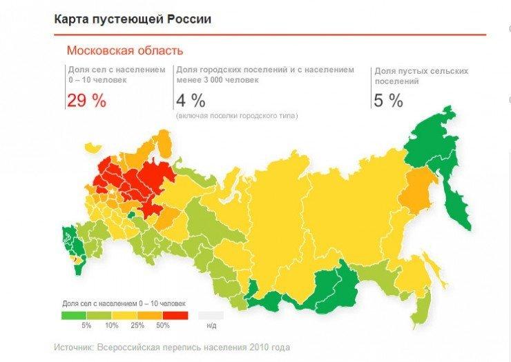 Как вымирает Россия. Карта опустевших городов.