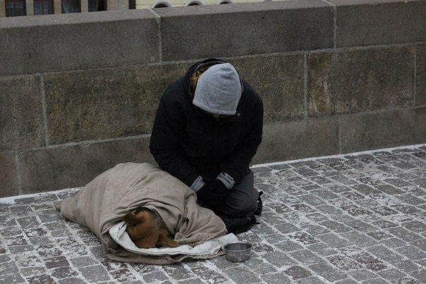 Но вместо того, чтобы укрыться самому, бездомный накрывает свою собаку.