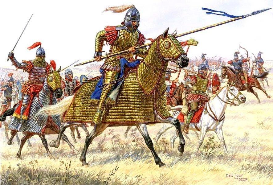 Голозадая и голоногая, плохо вооружённая римская пехота... Официальная история: великая, прекрасная и могучая римская цивилизация пала под ударами вонючих косматых дикарей. Hа самом деле, осточертевшие всем (как сейчас америкосы) выродки были подвергнуты санации со стороны более приличных соседей. Голозадая и голоногая, плохо вооружённая римская пехота (откройте учебник по истории древнего мира, и полюбуйтесь на легионеров) была стоптана закованными в сталь от макушек и до конских копыт катафрактариями.