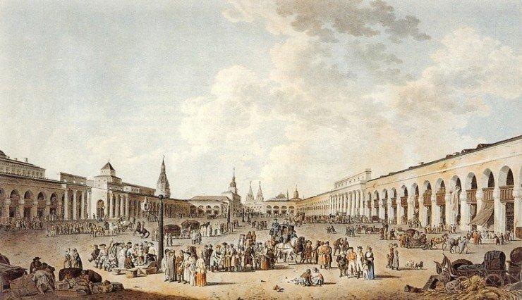 Вид на Красную площадь, 1795 год. Гильфердинг, раскрашенная гравюра.