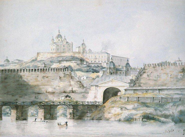 Вид через Днепр на Фроловские ворота Смоленска в 1787 году.