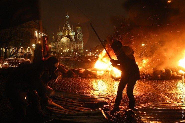 """Акция """"Свобода"""" П.Павленского в Санкт-Петербурге"""