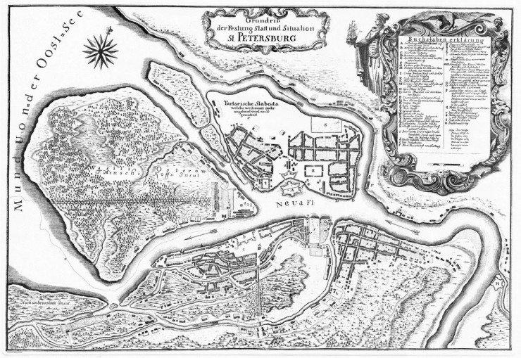 Карта СПБ с тартарской слободой