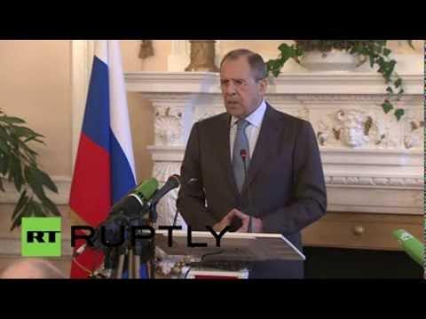 Пресс-конференция министра иностранных дел РФ Сергея Лаврова и государственного секретаря США Джона Керри по ситуации на Украине