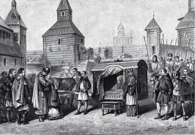 Отъезд княжны Анны, дочери великого князя Ярослава Мудрого, во Францию для венчания с королем Генрихом I.