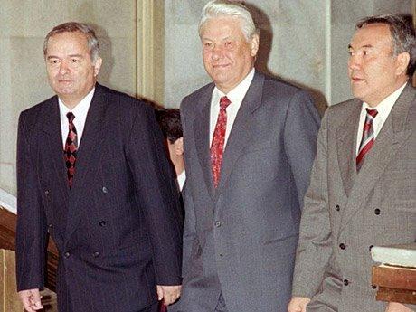 Ислам Каримов, Борис Ельцин иНурсултан Назарбаев
