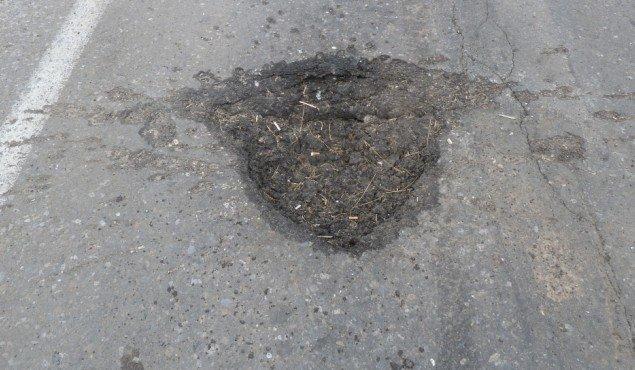 А вот так выглядит обычная воронка от мины Фото: Николай ВАРСЕГОВ