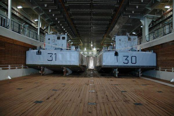 Корабль может принимать около 40 танков или около 70 автомашин. Также он способен осуществлять огневую поддержку десанта силами авиагруппы, состоящей из 30 вертолётов.