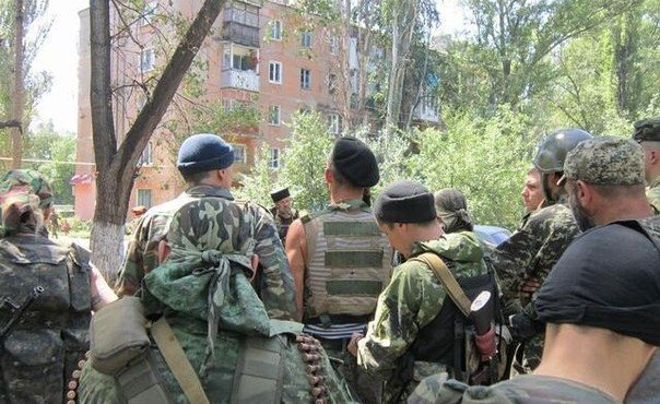 30.07.2014. Ополченцы в Шахтерске.