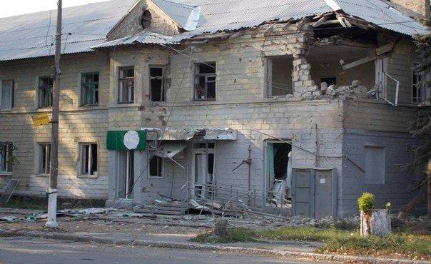 Шахтерск после обстрела укрофашистской армией.