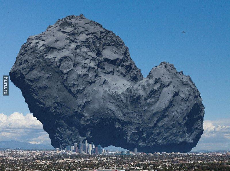 Ядро кометы Чурюмова-Герасименко в сравнении с Лос-Анджелесом