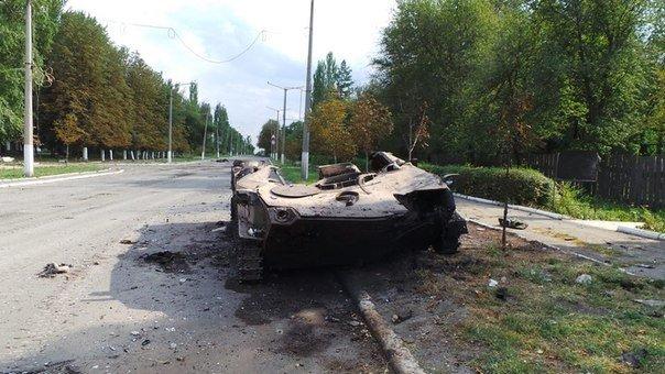 Шахтерск. Уничтоженная техника укрофашистов.