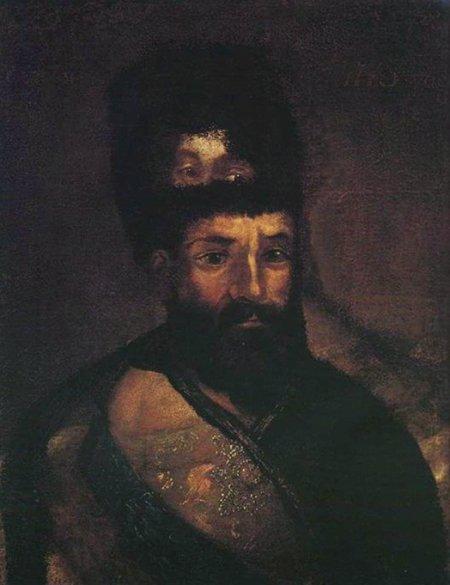 Царский портрет Пугачева, нарисованный в Бердах поверх портрета Екатерины II.