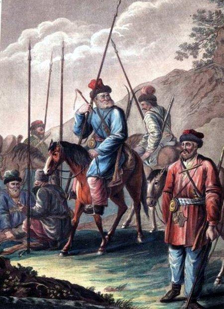 «Яицкие казаки в походе», гравюра Т. Вебера