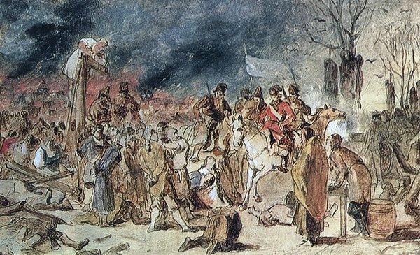 Эскиз картины «Суд Пугачева», Василия Перова