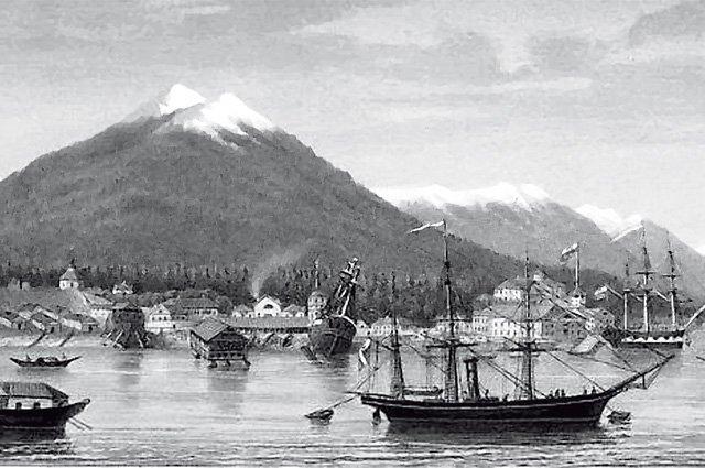 Новоархангельск — столица русской Аляски. Середина XIX века. Фото: public domain