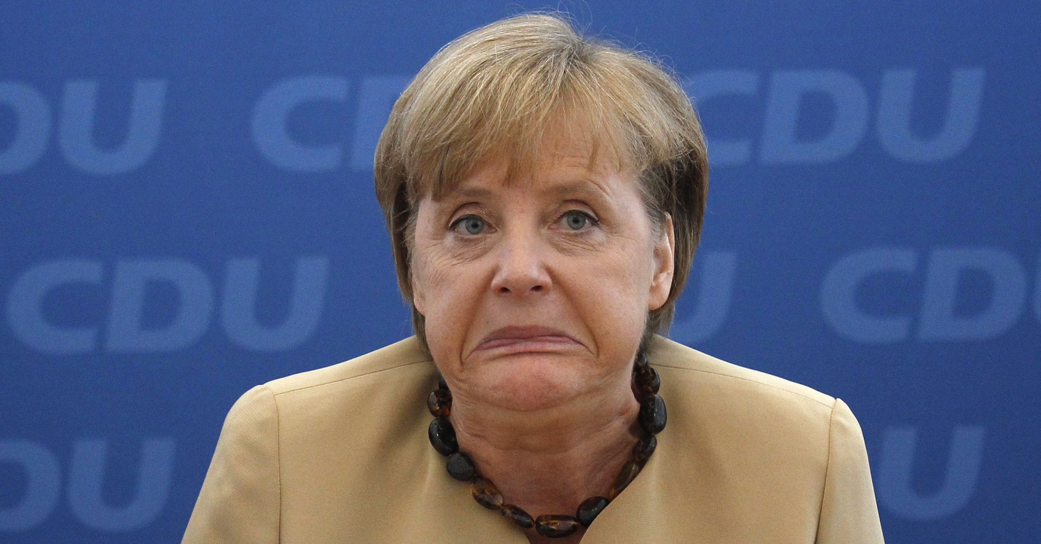 German Chancellor and head of German CDU party Merkel awaits start of party board meeting in Berlin