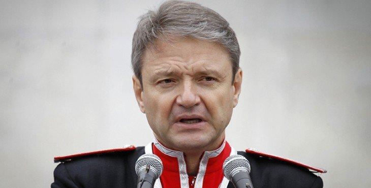 Governor of the Krasnodar region Alexander Tkachev delivers a speech during a Cossack parade in the Russian southern city of Krasnodar