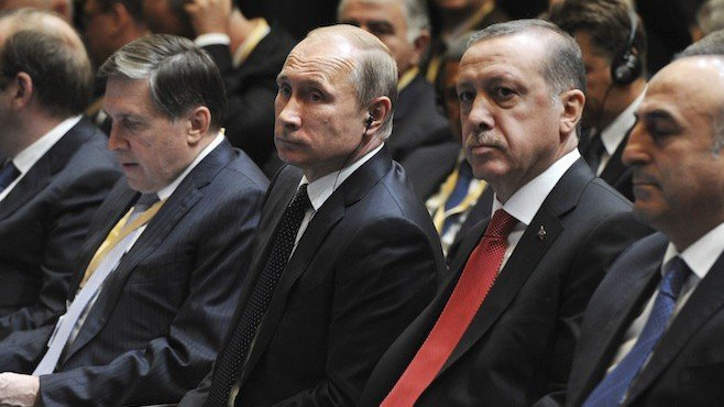 Russia's President Putin and his Turkish counterpart Erdogan attend a signing ceremony in Ankara