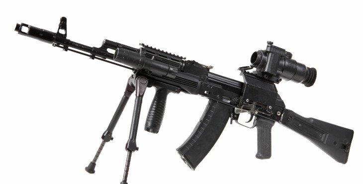 machine gun kalashnikov on the tripod and optical