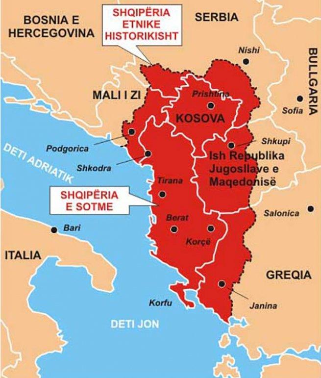 На карте: Мечты о Великой Албании
