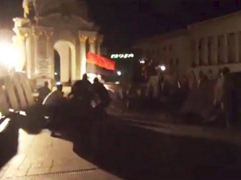 Как титушки Порошенко снесли палатки на Майдане (ВИДЕО)