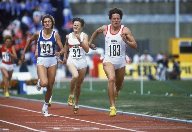 Czech athlete Jarmila Kratochvilova (right) on her way to winning the 400 Metres event in a world record time of 47.99 at the 1983 World Championships in Athletics, Helsinki, August 1983. (Photo by Trevor Jones/Getty Images)