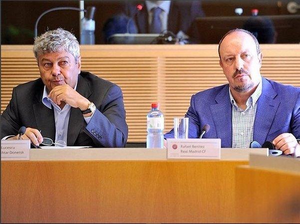 На конгрессе элитных тренеров УЕФА накануне очной встречи в Лиге чемпионов Луческу и Бенитес сидели рядом