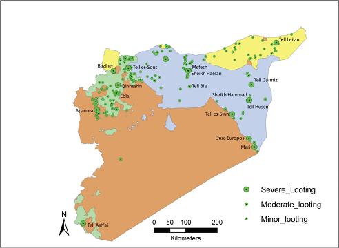 © Фото: Jesse Casana Карта Сирии с отмеченными на ней памятниками культуры, разграбленными оппозицией, курдами и ИГ