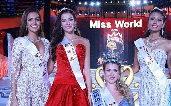 Наша София Никитчук – вторая слева. Сидит – победительница, Фото: «Мисс мира – 2015»