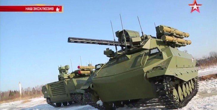 Первый в истории российский боевой робот ведет огонь: эксклюзивные кадры (Видео)
