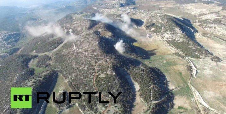 С высоты птичьего полёта: бои между сирийской армией и боевиками «Фронта ан-Нусра» Видео