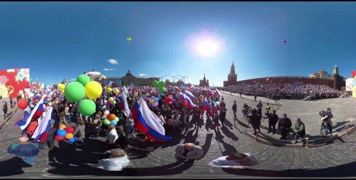 Видео 360: первомайское шествие профсоюзов по Красной площади