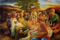 Пятеро Пандавов и Кришна около деда Бхишмадевы на поле битвы Курукшетра (Фото: www.gurukula.ru)