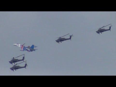 Мировой рекорд: совместный полет истребителя Су-27 и 4-х вертолетов Ми-28