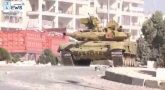 Танк Т-90 со «Шторой» ударил по боевикам в Алеппо (видео)