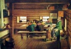 Картина Б.Кустодиева «Земская школа в Московской Руси»