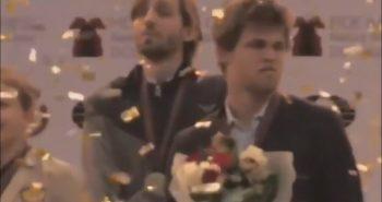 Расcтроенный проигрышем Карлсен убежал с церемонии награждения Карякина