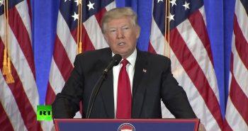 Первая пресс-конференция избранного президента США Дональда Трампа (Видео)